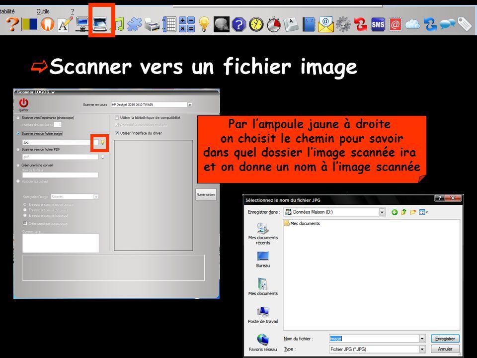 Par lampoule jaune à droite on choisit le chemin pour savoir dans quel dossier limage scannée ira et on donne un nom à limage scannée Scanner vers un fichier image