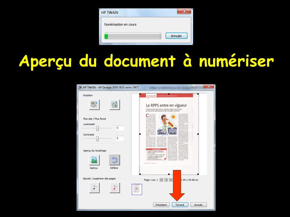 Aperçu du document à numériser