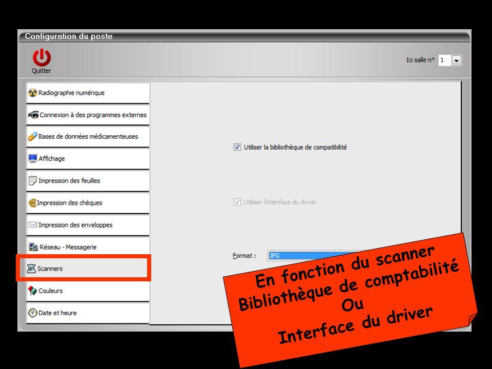 En fonction du scanner Bibliothèque de comptabilité Ou Interface du driver