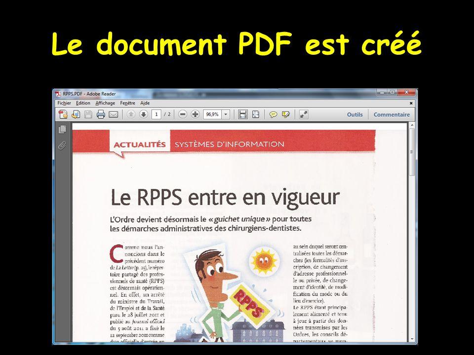 Le document PDF est créé