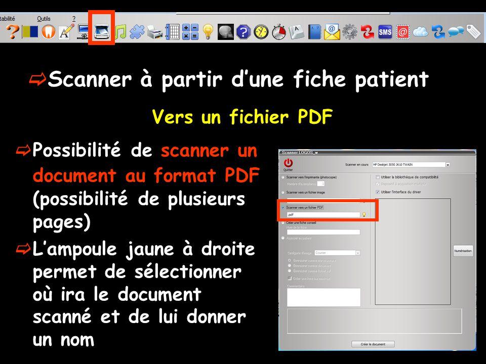Possibilité de scanner un document au format PDF (possibilité de plusieurs pages) Lampoule jaune à droite permet de sélectionner où ira le document scanné et de lui donner un nom Vers un fichier PDF Scanner à partir dune fiche patient