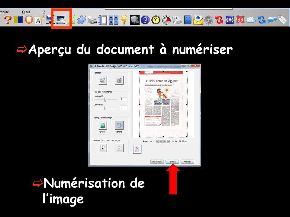 Numérisation de limage Aperçu du document à numériser