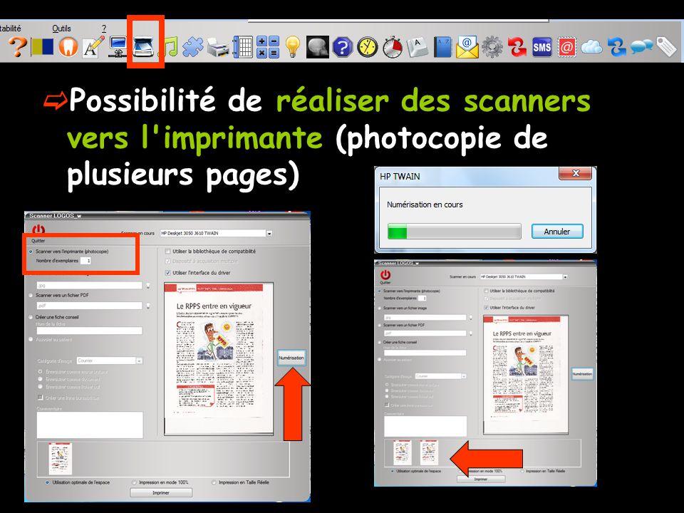 Possibilité de réaliser des scanners vers l imprimante (photocopie de plusieurs pages)
