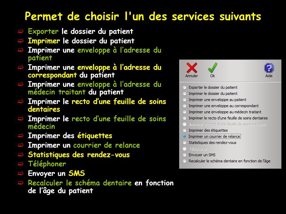 Les services patient Imprimer un courrier de relance Cette fonction permet de réaliser un courrier de relance au patient, sans passer par la fenêtre de gestion des débits