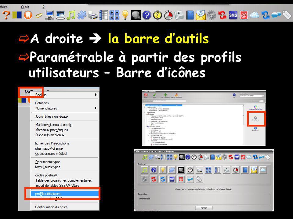 A droite la barre doutils Paramétrable à partir des profils utilisateurs – Barre dicônes