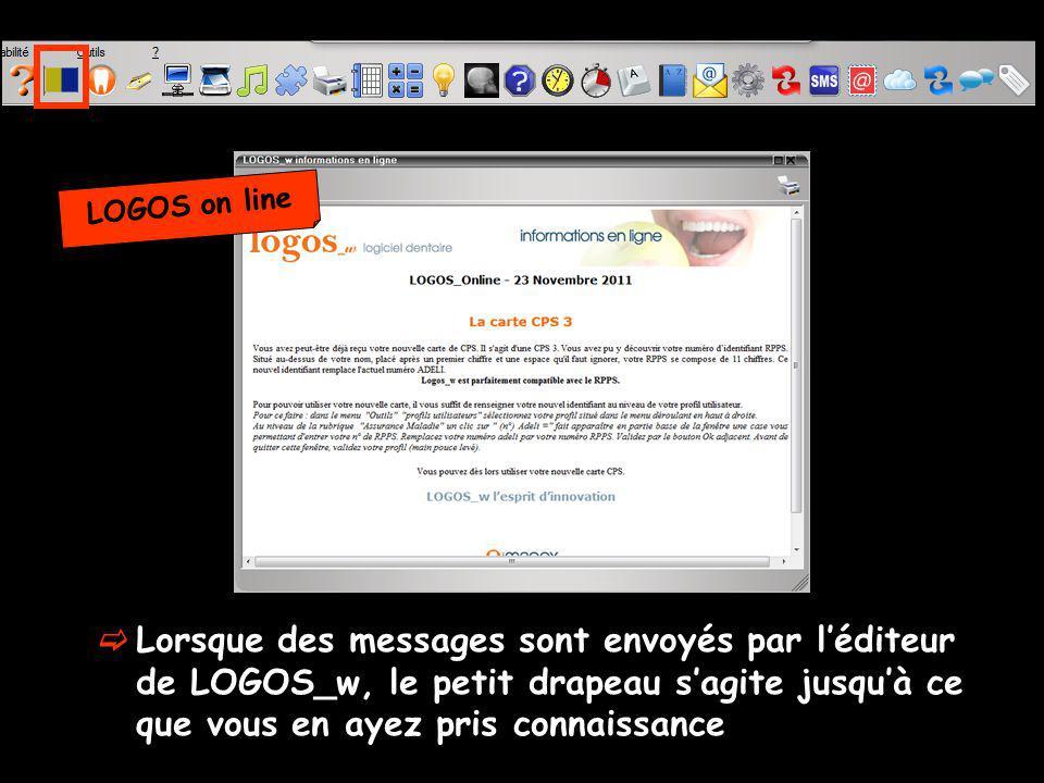Lorsque des messages sont envoyés par léditeur de LOGOS_w, le petit drapeau sagite jusquà ce que vous en ayez pris connaissance LOGOS on line