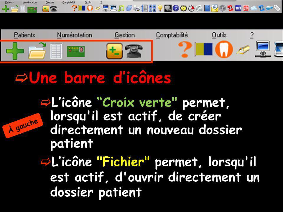 Une barre dicônes Licône Fichier permet, lorsqu il est actif, d ouvrir directement un dossier patient Licône Croix verte permet, lorsqu il est actif, de créer directement un nouveau dossier patient À gauche