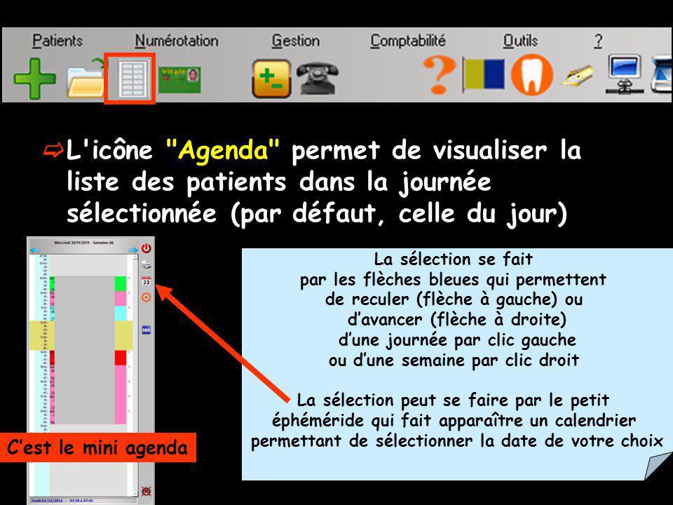 Dans sa partie droite : quatre boutons De gauche à droite Patient précédent Patient suivant Les flèches patient suivant et précédant intéressent les patients actifs seulement (pas les archivés ou les décédés)