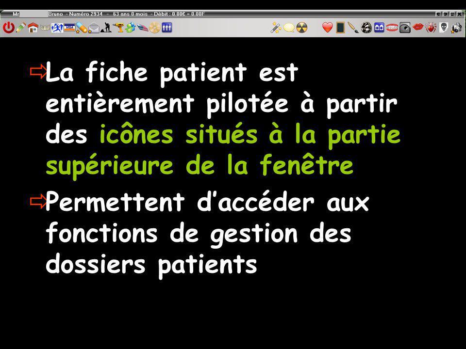 La fiche patient est entièrement pilotée à partir des icônes situés à la partie supérieure de la fenêtre Permettent daccéder aux fonctions de gestion des dossiers patients