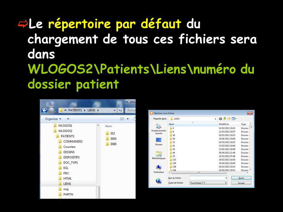 Le répertoire par défaut du chargement de tous ces fichiers sera dans WLOGOS2\Patients\Liens\numéro du dossier patient