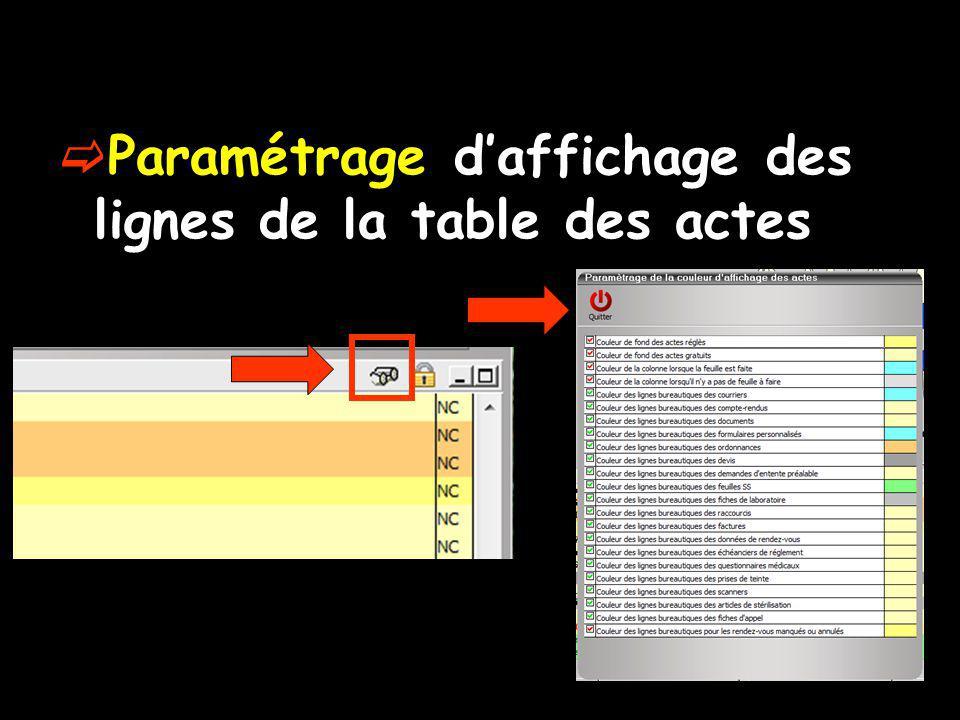 Paramétrage daffichage des lignes de la table des actes