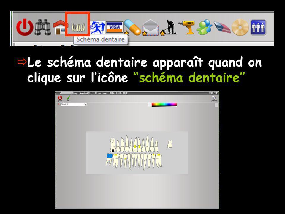 Le schéma dentaire apparaît quand on clique sur licône schéma dentaire