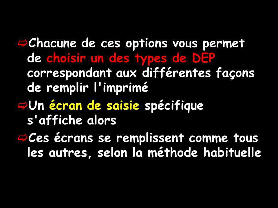Chacune de ces options vous permet de choisir un des types de DEP correspondant aux différentes façons de remplir l'imprimé Un écran de saisie spécifi