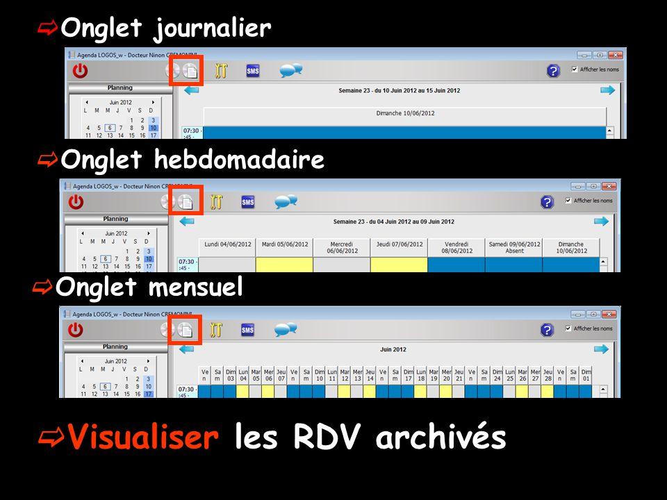 Onglet journalier Onglet hebdomadaire Onglet mensuel Visualiser les RDV archivés
