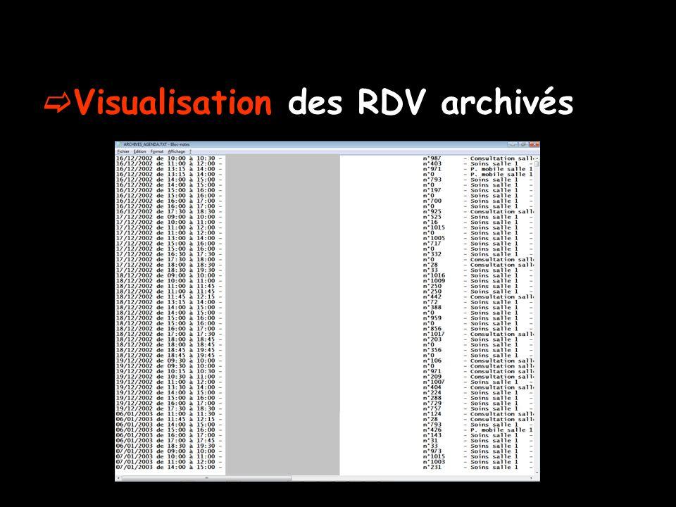 Visualisation des RDV archivés