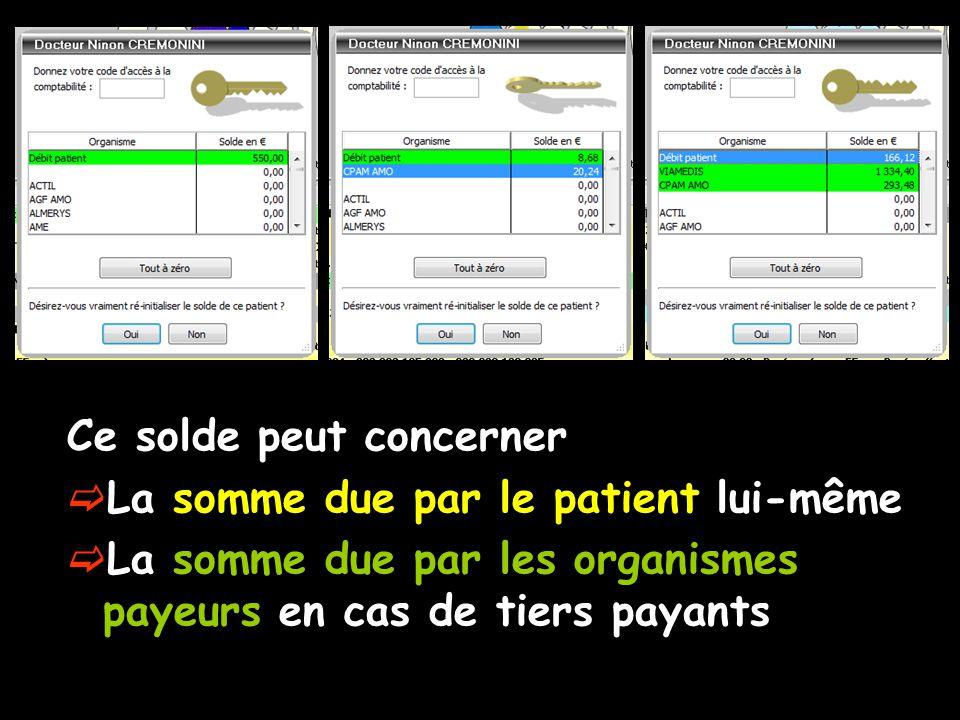 Ce solde peut concerner La somme due par le patient lui-même La somme due par les organismes payeurs en cas de tiers payants