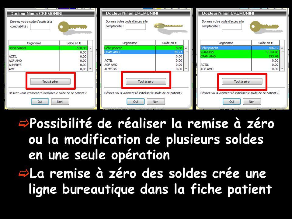 Possibilité de réaliser la remise à zéro ou la modification de plusieurs soldes en une seule opération La remise à zéro des soldes crée une ligne bureautique dans la fiche patient