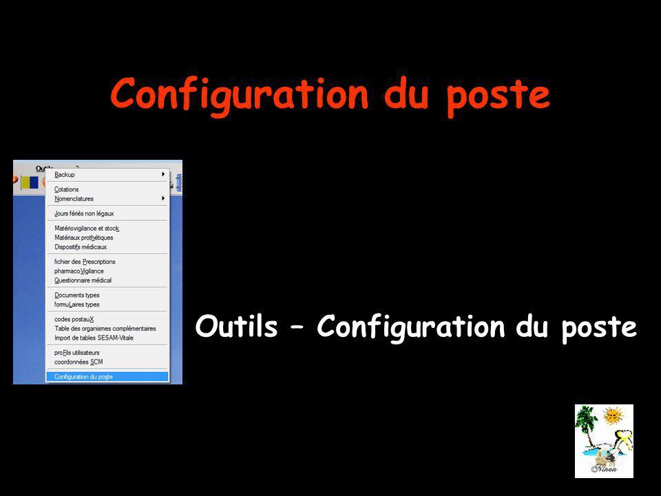 Configuration du poste Outils – Configuration du poste