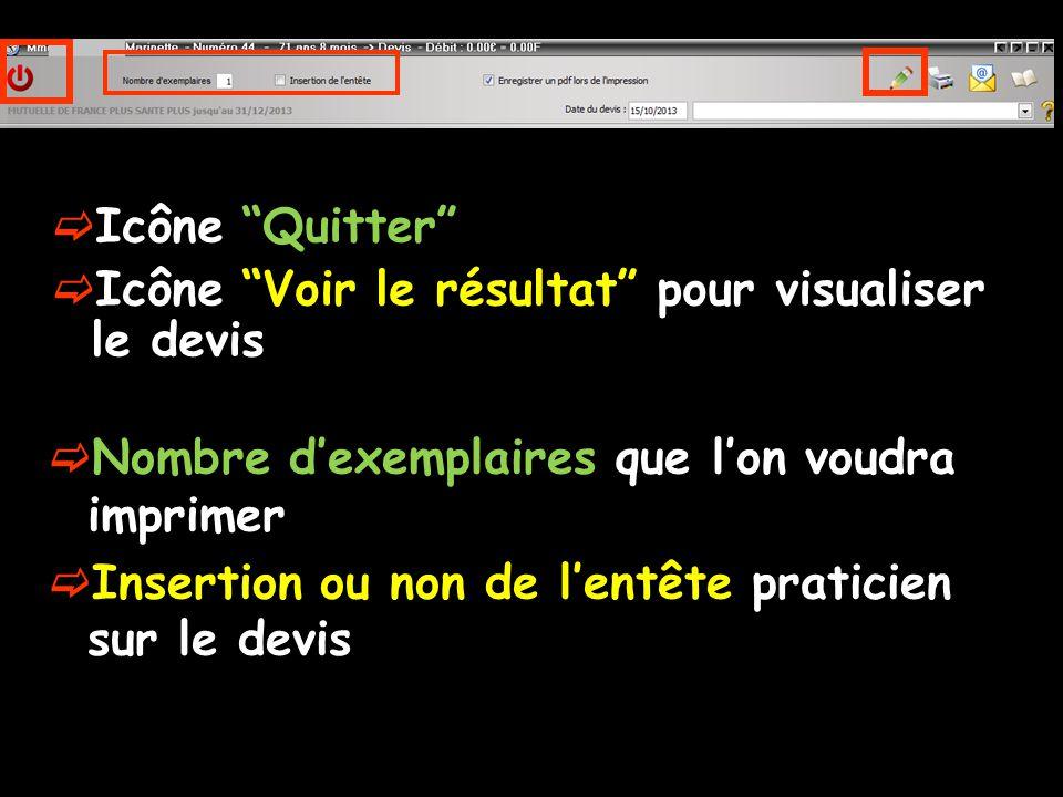 Icône Quitter Icône Voir le résultat pour visualiser le devis Nombre dexemplaires que lon voudra imprimer Insertion ou non de lentête praticien sur le devis