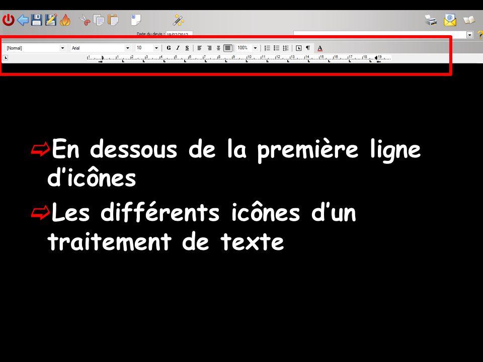 En dessous de la première ligne dicônes Les différents icônes dun traitement de texte