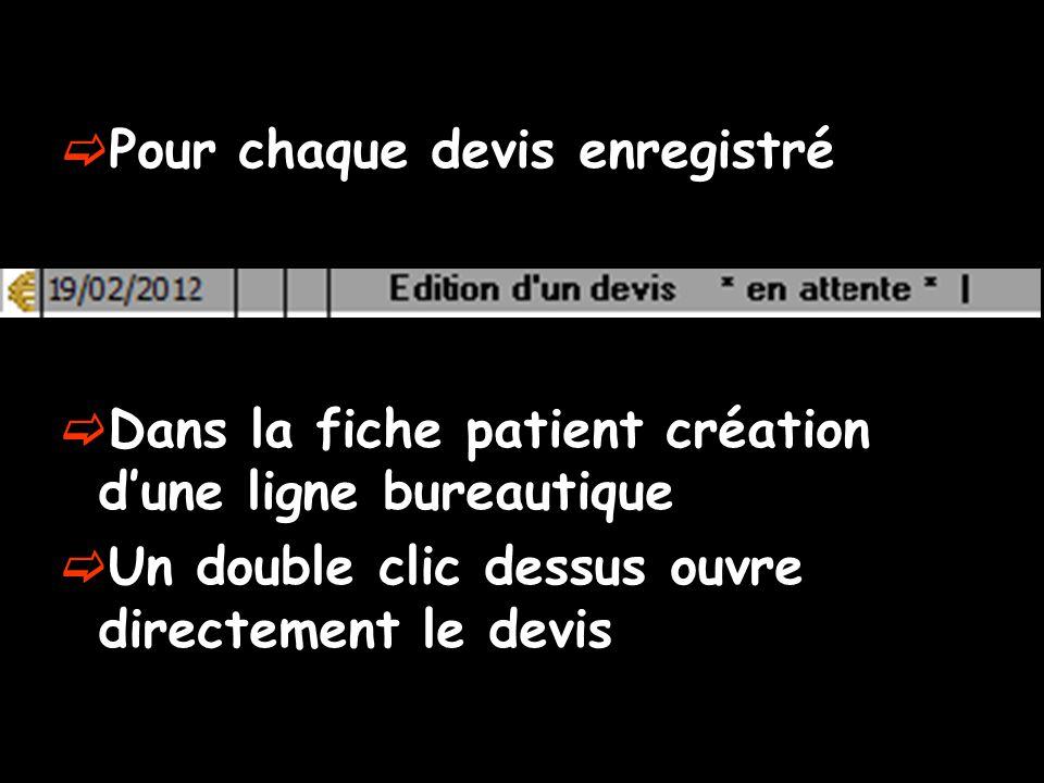Pour chaque devis enregistré Dans la fiche patient création dune ligne bureautique Un double clic dessus ouvre directement le devis