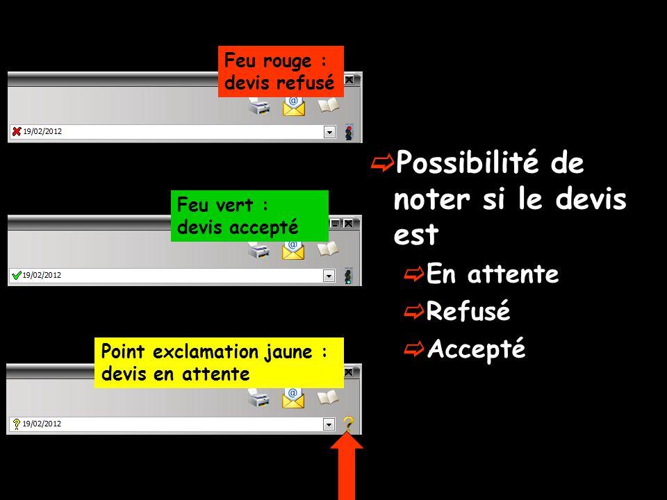 Possibilité de noter si le devis est En attente Refusé Accepté Feu rouge : devis refusé Feu vert : devis accepté Point exclamation jaune : devis en attente