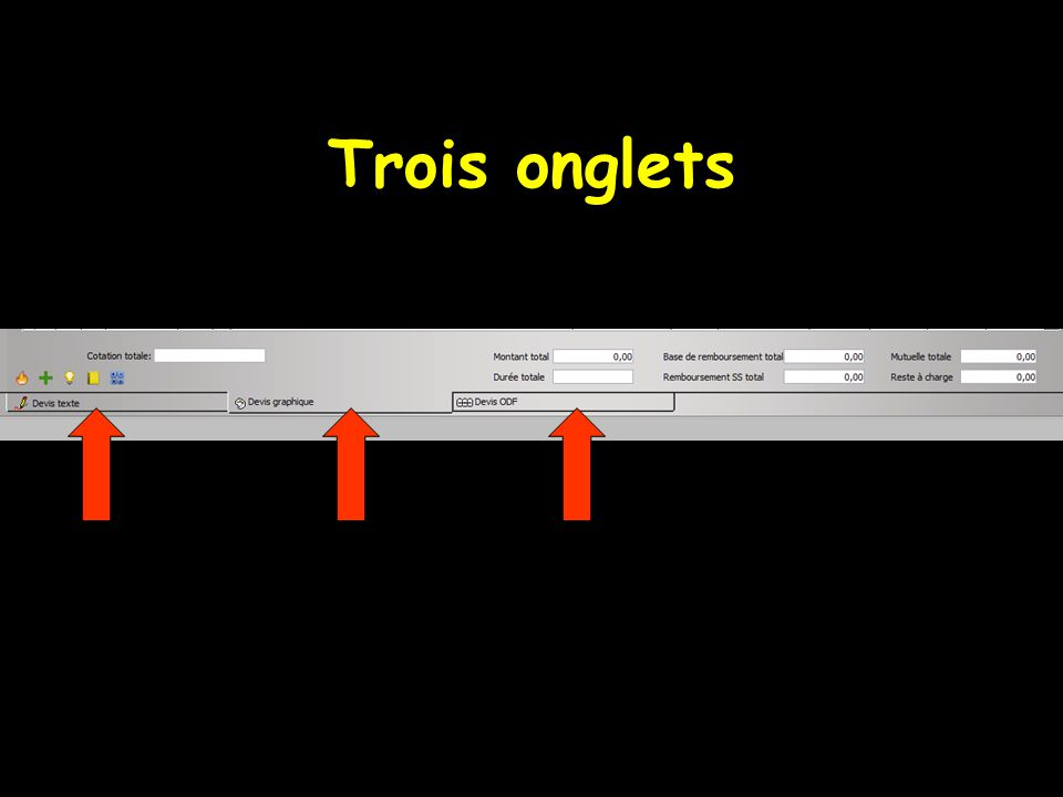 Trois onglets