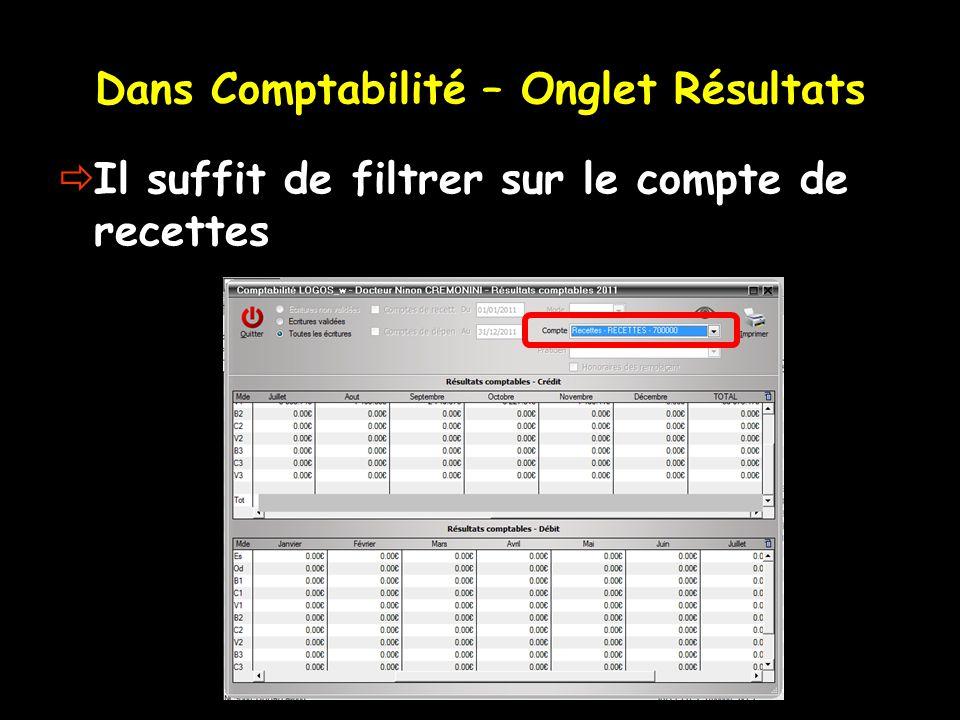 Dans Comptabilité – Onglet Résultats Il suffit de filtrer sur le compte de recettes