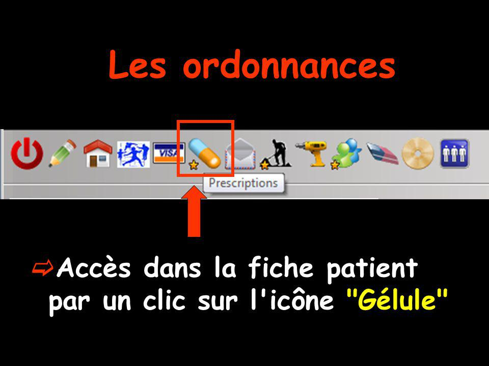 Accès dans la fiche patient par un clic sur l'icône