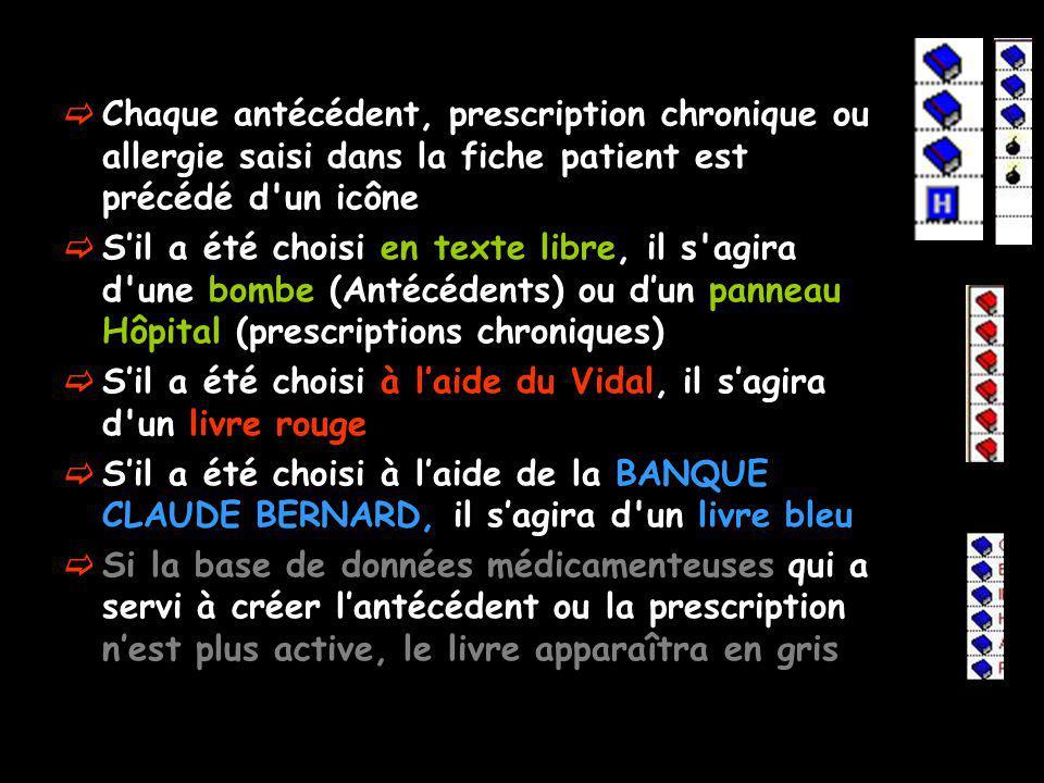 Chaque antécédent, prescription chronique ou allergie saisi dans la fiche patient est précédé d'un icône Sil a été choisi en texte libre, il s'agira d