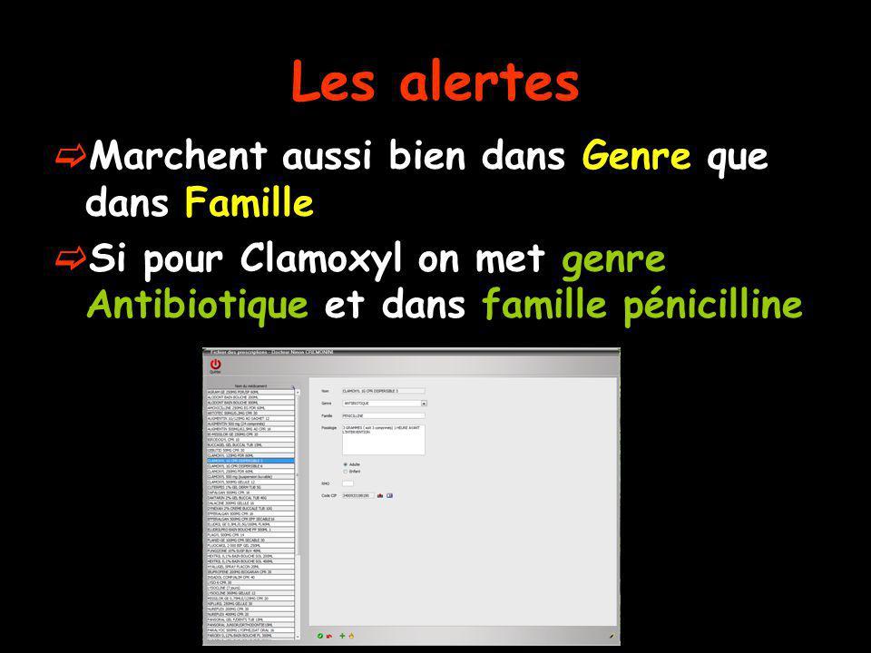 Les alertes Marchent aussi bien dans Genre que dans Famille Si pour Clamoxyl on met genre Antibiotique et dans famille pénicilline
