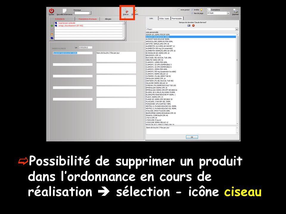 Possibilité de supprimer un produit dans lordonnance en cours de réalisation sélection - icône ciseau