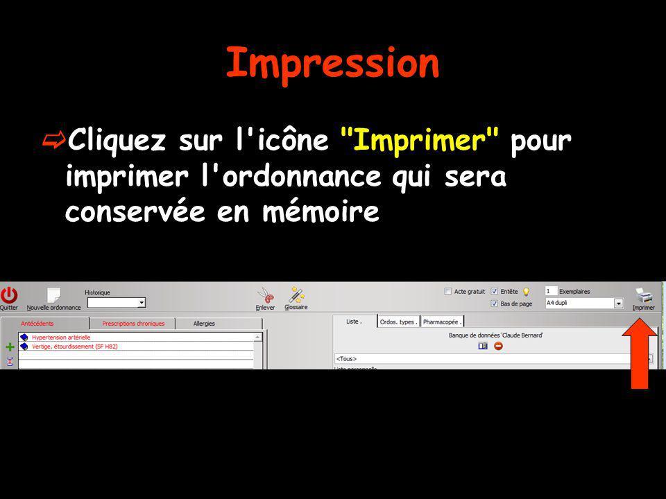 Impression Cliquez sur l'icône
