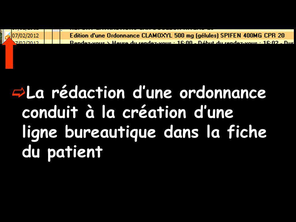 La rédaction dune ordonnance conduit à la création dune ligne bureautique dans la fiche du patient