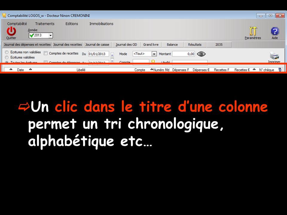 Un clic dans le titre dune colonne permet un tri chronologique, alphabétique etc…