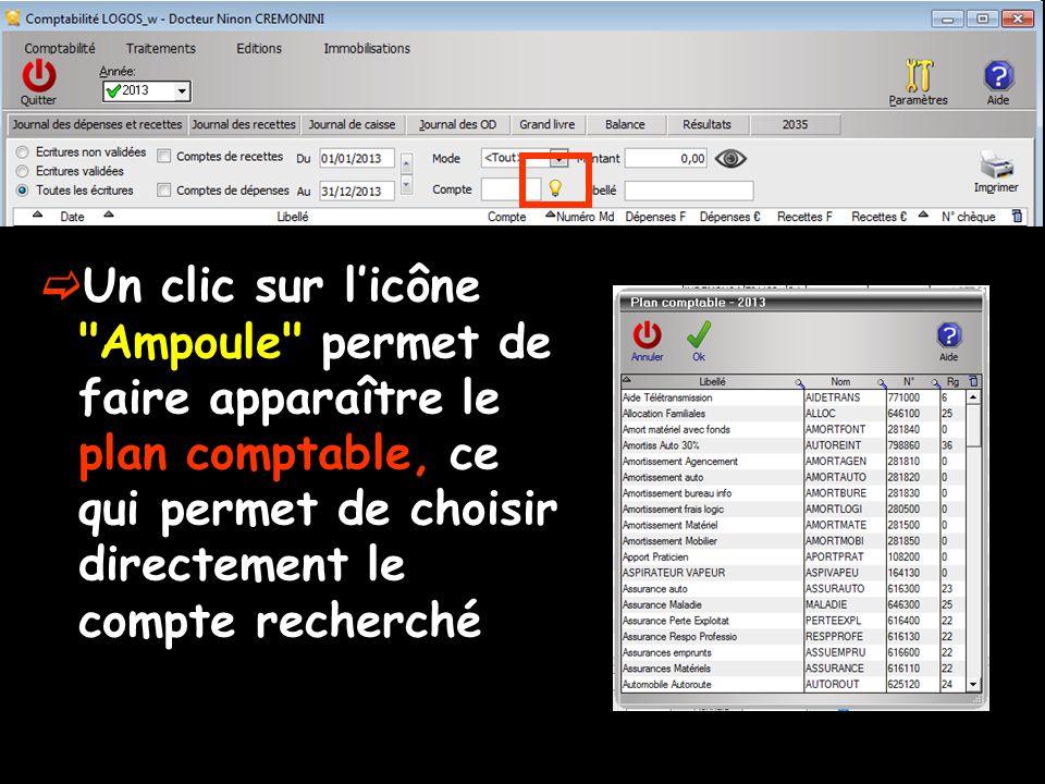 Un clic sur licône Ampoule permet de faire apparaître le plan comptable, ce qui permet de choisir directement le compte recherché