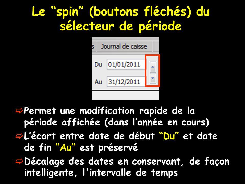 Le spin (boutons fléchés) du sélecteur de période Permet une modification rapide de la période affichée (dans lannée en cours) Lécart entre date de début Du et date de fin Au est préservé Décalage des dates en conservant, de façon intelligente, l intervalle de temps