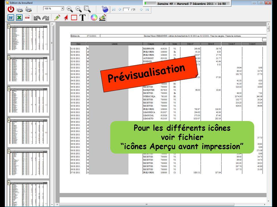 Prévisualisation Pour les différents icônes voir fichier icônes Aperçu avant impression