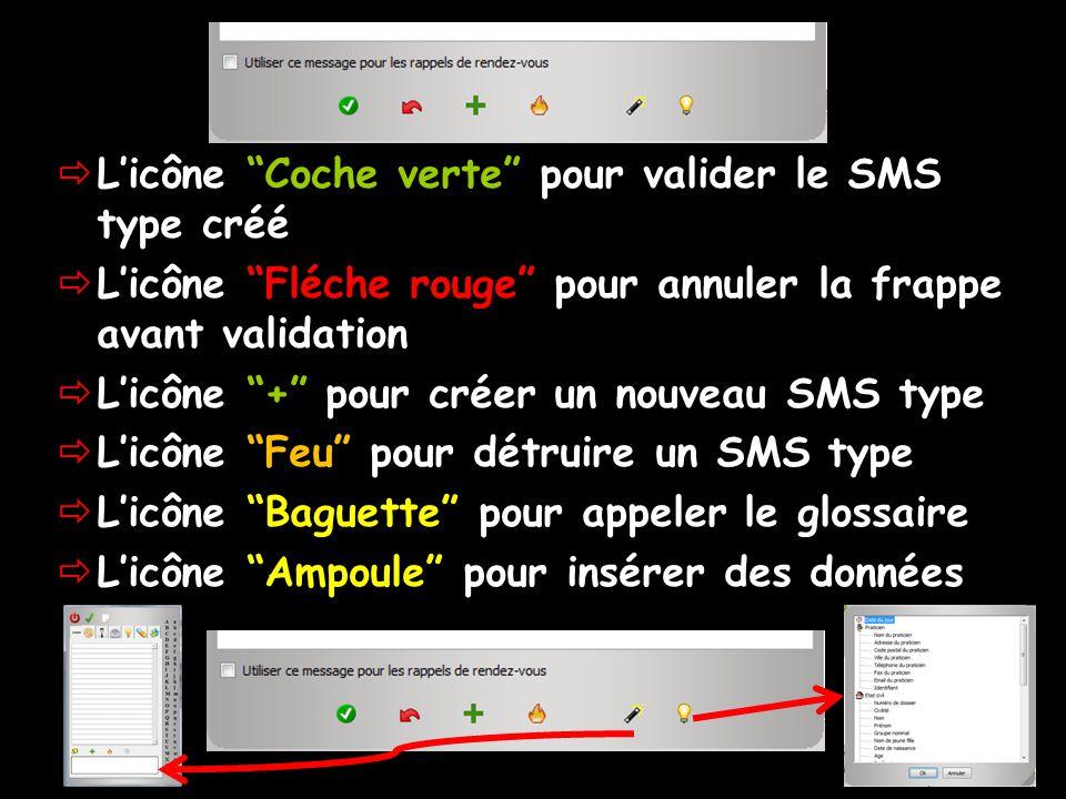 Licône Coche verte pour valider le SMS type créé Licône Fléche rouge pour annuler la frappe avant validation Licône + pour créer un nouveau SMS type Licône Feu pour détruire un SMS type Licône Baguette pour appeler le glossaire Licône Ampoule pour insérer des données