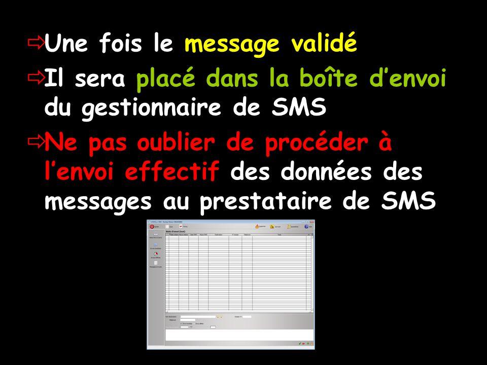 Une fois le message validé Il sera placé dans la boîte denvoi du gestionnaire de SMS Ne pas oublier de procéder à lenvoi effectif des données des messages au prestataire de SMS