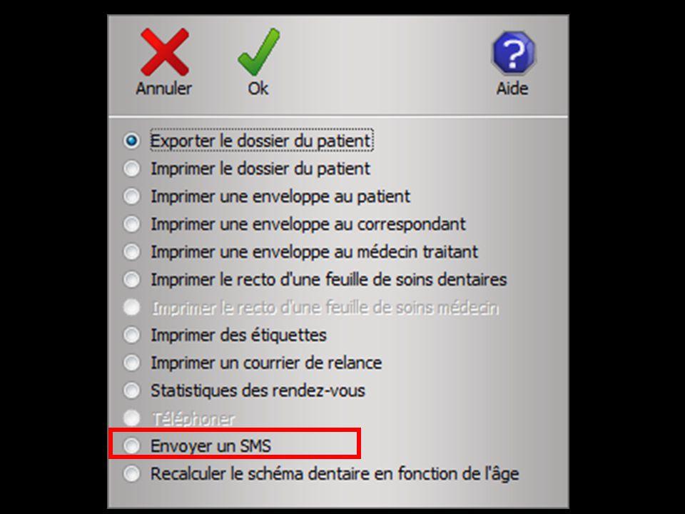 Dans la fenêtre de création de SMS le numéro de téléphone portable du patient sera automatiquement renseigné s il a été saisi dans la fiche d état-civil