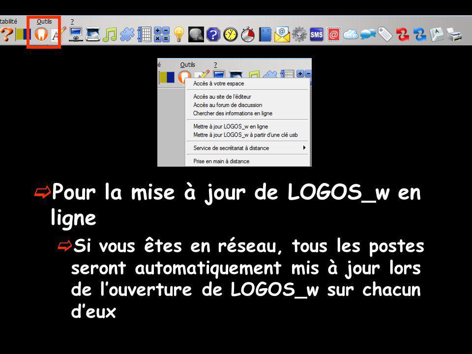 Pour la mise à jour de LOGOS_w en ligne Si vous êtes en réseau, tous les postes seront automatiquement mis à jour lors de louverture de LOGOS_w sur ch
