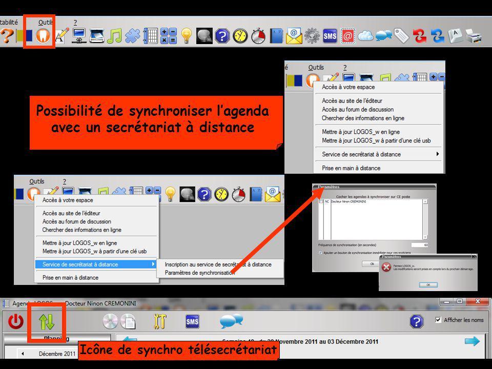 Possibilité de synchroniser lagenda avec un secrétariat à distance Icône de synchro télésecrétariat
