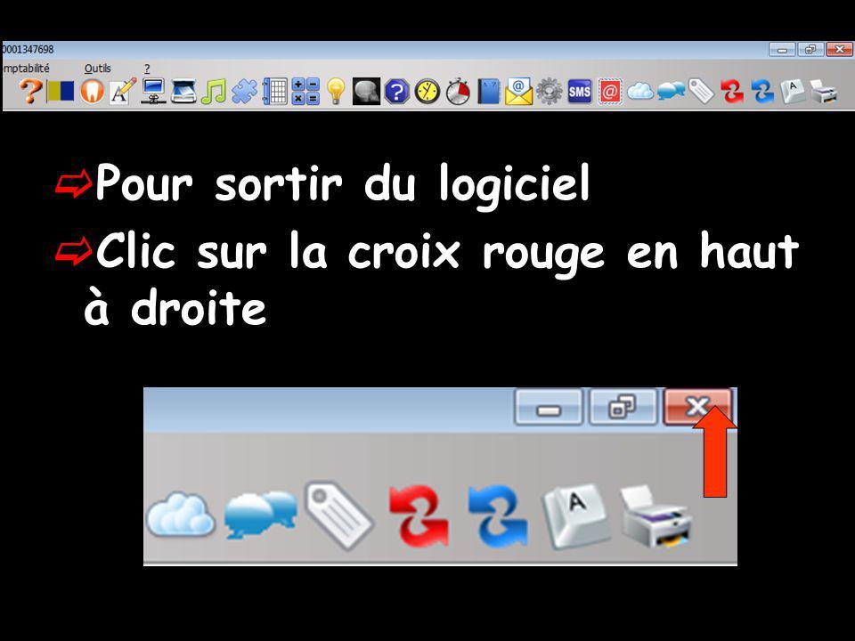 Pour sortir du logiciel Clic sur la croix rouge en haut à droite