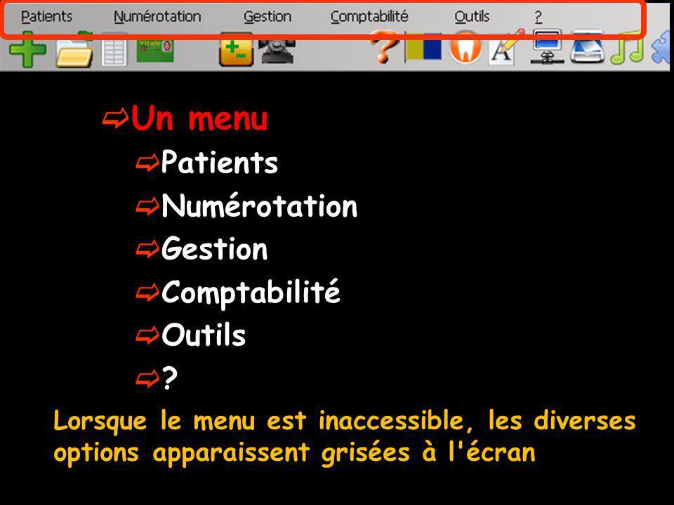 Un menu Patients Numérotation Gestion Comptabilité Outils ? Lorsque le menu est inaccessible, les diverses options apparaissent grisées à l'écran