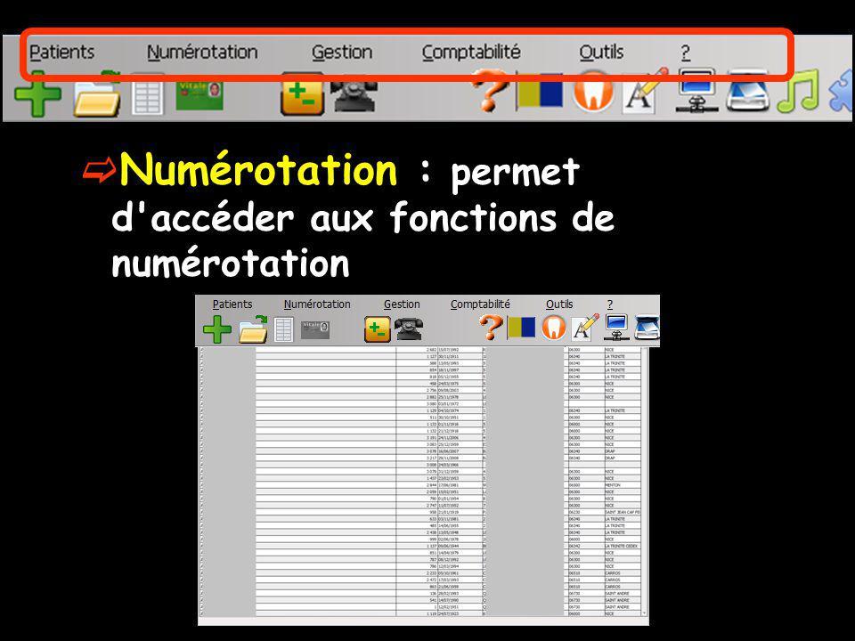 Numérotation : permet d'accéder aux fonctions de numérotation