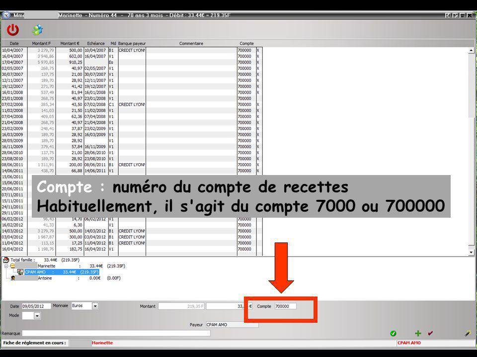 Compte : numéro du compte de recettes Habituellement, il s agit du compte 7000 ou 700000