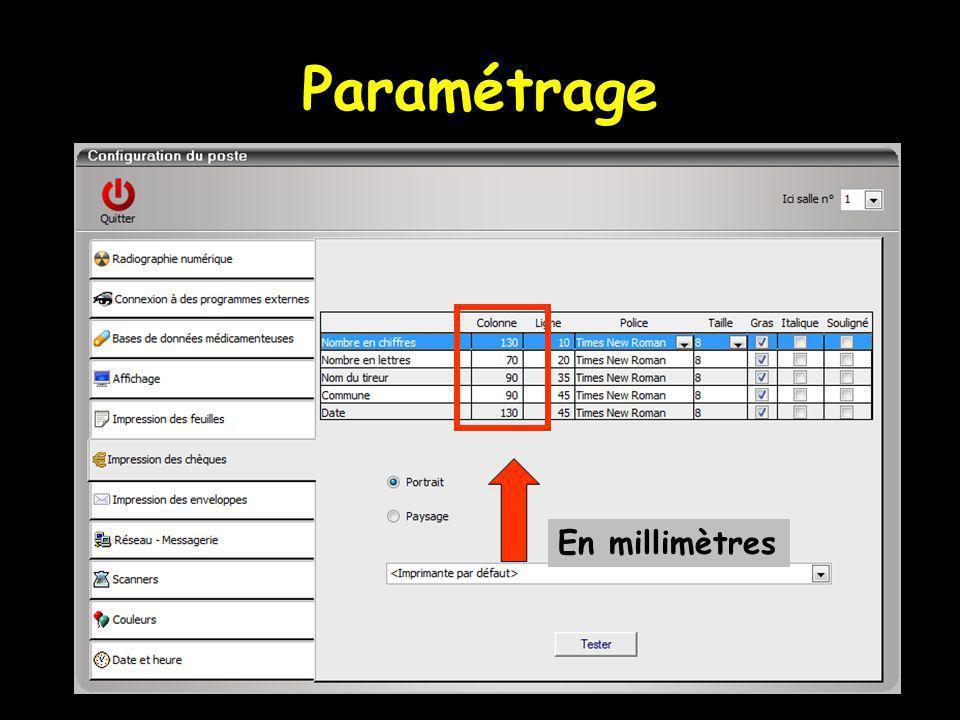 Paramétrage En millimètres