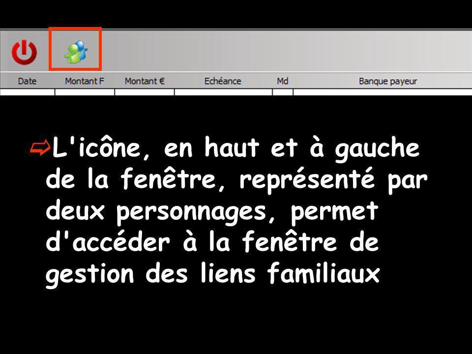 L icône, en haut et à gauche de la fenêtre, représenté par deux personnages, permet d accéder à la fenêtre de gestion des liens familiaux