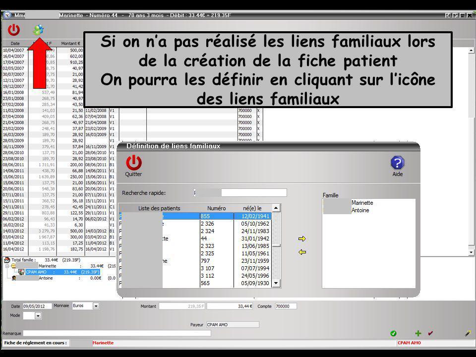 Si on na pas réalisé les liens familiaux lors de la création de la fiche patient On pourra les définir en cliquant sur licône des liens familiaux
